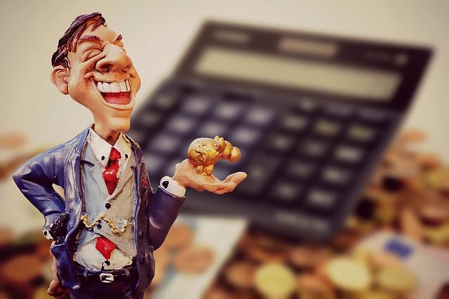 bankéř, kalkulačka
